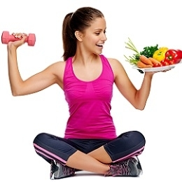 Woman Holding Dumbbell and Plate of Food