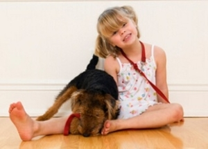 Little girl sitting on a hardwood floor playing with a dog